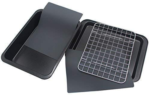 Checkered Chef Toaster Oven Pans - 5 Piece Nonstick Bakeware Set Includes Baking Trays, Rack and Silicone Baking Mats - Best Accessories For Toaster and Convection Ovens (Pan For Toaster Oven)