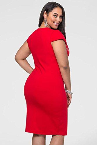 NEW Femme de taille plus robe Midi Imprimé en aluminium Rouge bureau robe Casual Soirée porter Plus Taille 18–20