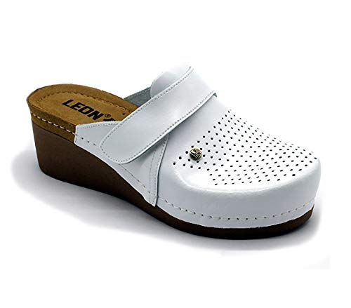 Pelle Zoccoli Bianco Donna 1001 Scarpe Leon Sabot Pantofole Xf0wq5