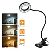 Tomshine Book Light, Metal Clip on Light with 3 Colors, 10-Level Brightness Reading Lamp with Clip for Desk, Bed