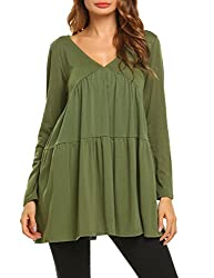 Se Miu Womens Ruffle Hem Casual Long Sleeve Tunic Blouse Tops Green Xxl