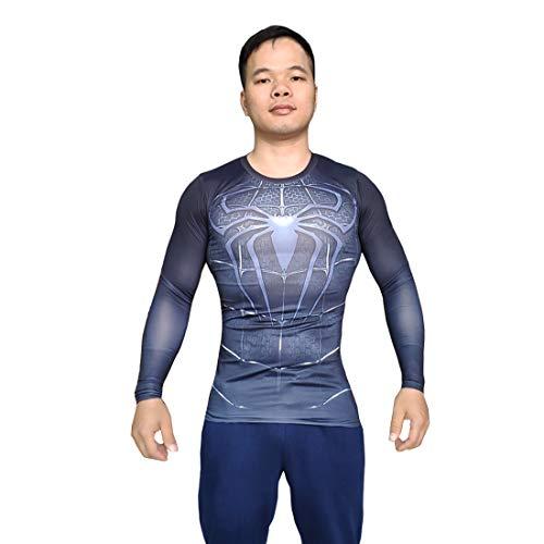 Black Spiderman T-Shirt for Men Venom Cosplay Costume Men's Sportswear Training Suit (XXXL) -