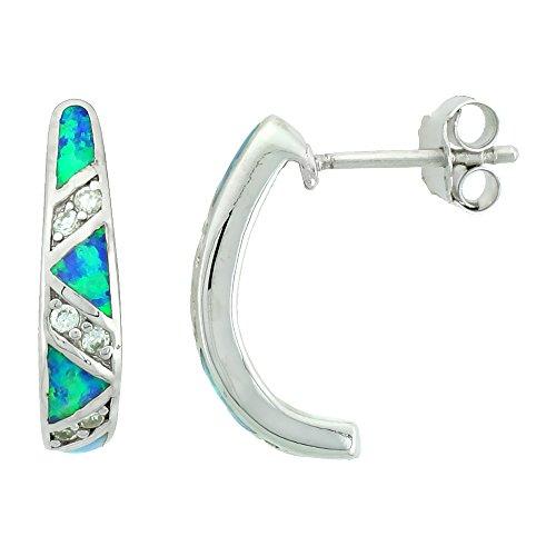 (Small Sterling Silver Synthetic Opal Half Hoop Post Earrings 3/4)