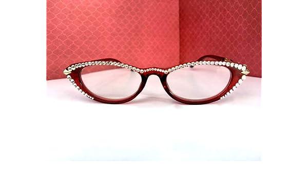 60cc9ae9538c Amazon.com  Cat Eye Reading Glasses Made with Swarovski Crystal (+1.00)   Health   Personal Care
