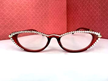 81962305c3a Image Unavailable. Image not available for. Color  Cat Eye Reading Glasses  Made with Swarovski Crystal ...