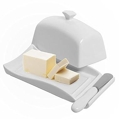 Decorative White Ceramic Lidded Butter Dish & Knife Spreader Set - MyGift®