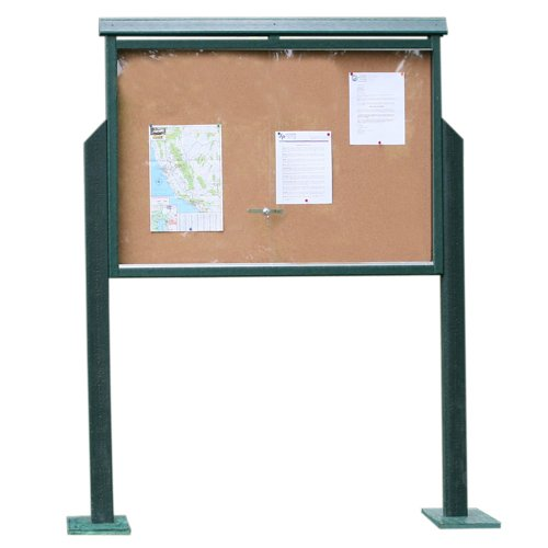 Medium One-Sided Message Center w/ Two Posts - Green [Office Product] by Frog Furnishings