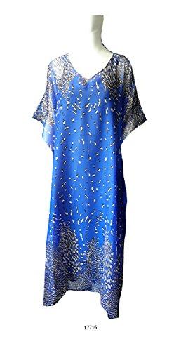Satin Blue Leopard ((15001) Women Royal Blue Chiffon Leopard Print Long Caftan (Satin Label). One Size)
