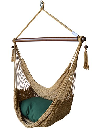 Caribbean Hammocks Chair with Footrest - 40 inch - Soft-spun Polyester - (Tan)