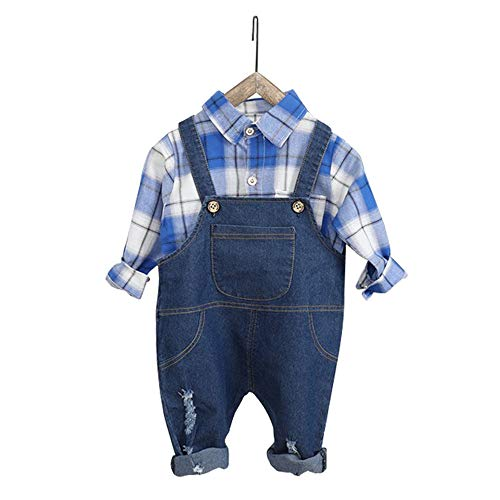 Girls Bib Overall - Little Boys Girls Ripped Holes Bib Jeans Overall Set 9-12 Month