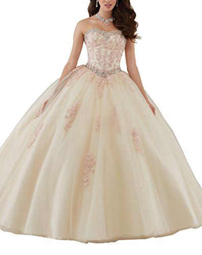 Elley Women's Lace Applique Sleevless Tulle Ball Gown Strapless Quinceanera Dress Champagne US4 Ball Gown Strapless Beading