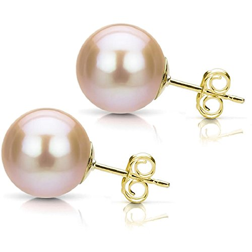 Pink Freshwater Cultured Pearl Earrings 14K Yellow Gold Studs Bridal Jewelry 7-7.5mm
