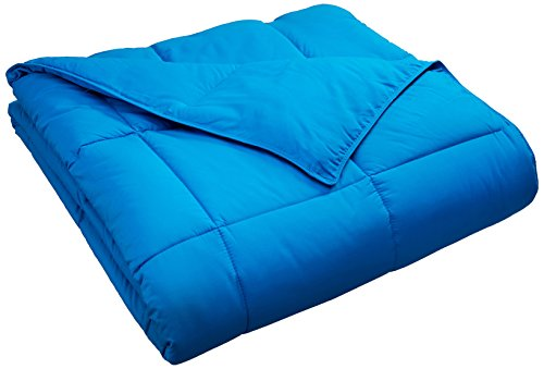 -Season Down Alternative Comforter with Baffle Box Construction, Warm Hypoallergenic Filling - Twin Comforter, Aster Blue (Kids Comforter)