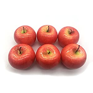 Maggift Artificial Fruits 6 pack,Decorative Fruit (Apple Red) 2