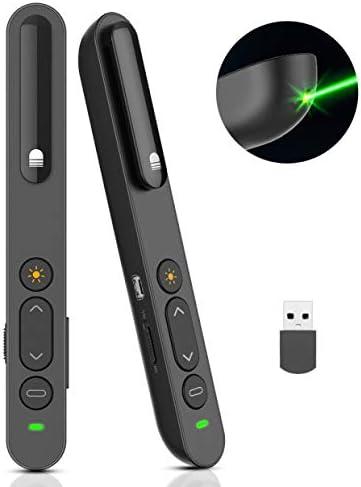 Doosl Puntero Laser Presentaciones, Presentador Remoto con luz Verde, Abrir Enlaces, Control de Volumen-Clicker de PowerPoint de 2.4GHz para Clases, Salas de Conferencias, Dala de Dxposiciones y Más