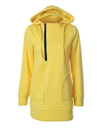 Women Casual Long Sleeve Drawstring Zipper Hooded Pullover Midi Sweater
