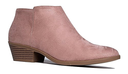 Western Ankle Boot- Cowgirl Low Heel Closed Toe Casual Bootie Mauve 8