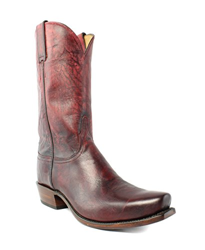 (Lucchese GY1509.73 Leadville Mens Red Mad Dog Goat Leather Cowboy Western Boots)