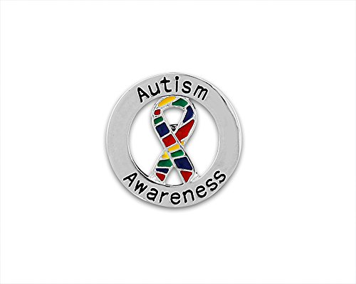 Fundraising For A Cause Round Autism Awareness Ribbon Pin with Tac Backing (1 Pin - RETAIL) Autism Ribbon Pin