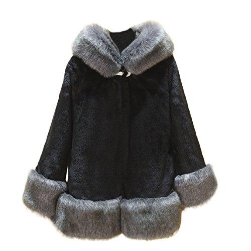 Nadition Plus Size Winter Coat Clearance ♥ Women Long Sleeve Parka Outwear Fox Fur Coat (Black, ()