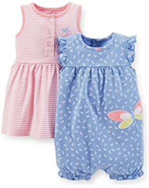 Baby Girls 2 Piece Dress and Romper Set, Newborn, Pink/Blue