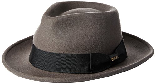 Scala Classico Men's Crushable Water Repelant Wool Felt Fedora Hat, Grey, Large (Felt Fedora Hats)