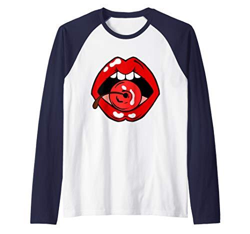 Vintage Red Lips with Cherry Shirt  Raglan Baseball Tee