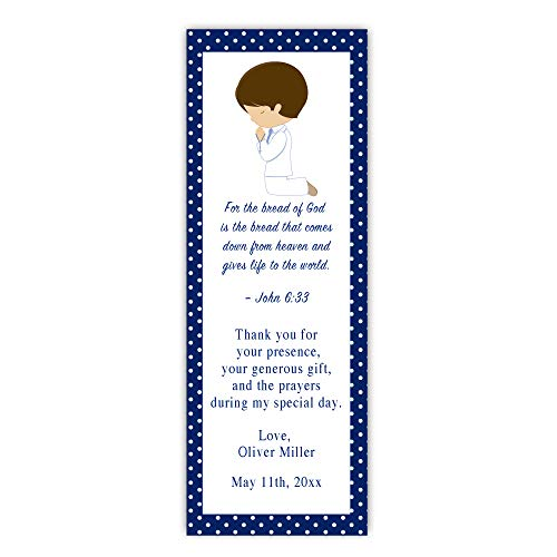 (Pink The Cat 50 Bookmarks Boy Praying First Communion Favor Gift Idea Blue)