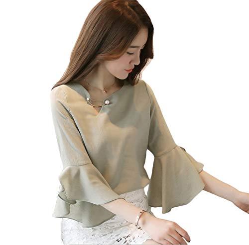 スペイン語劣るリムHapyy レディースシャツ ブラウス トップス シフォン 七分袖 上品 大きいサイズ オフィス 3色 S~2XL