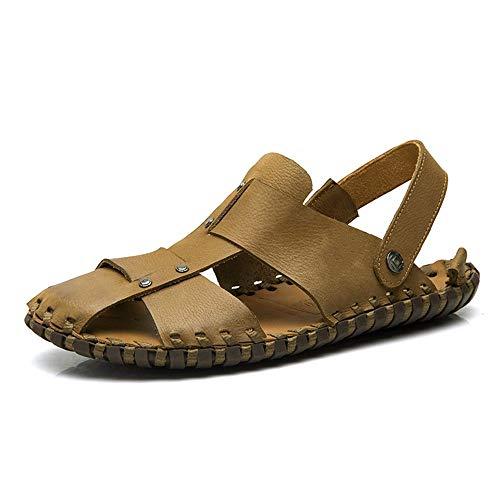 Kaki 41 EU MUJUN Mode été en Plein Air Confortable Sandales pour Hommes Mode Loisirs Plage Pantoufle Chaussures Slip on Style Ox en Cuir Bout Fermé Pure Couleur Léger (Couleur   Kaki, Taille   41 EU)