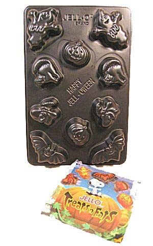 Jigglers Mold: Halloween Creepy Jigglers Jell-o Gelatin Chocolate Mint Candy Mold ~ 10 Cavity 5 Shapes ~ Pumpkin Ghost Witch Cat Bat Designs]()