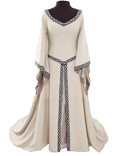 (KUFV Womens Renaissance Medieval Dress V-Neck Floor Length Halloween Cosplay Costumes Fancy)