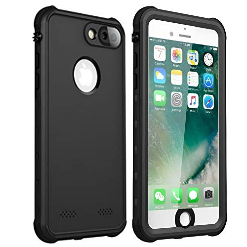 iPhone 7 8 Plus Waterproof Case, Shockproof Dropproof Dirtproof Rain Snow Proof Full Body Protective Cover IP68 Underwater Case Fingerprint ID Screen Protector for iPhone 7 Plus 8 Plus (Black)