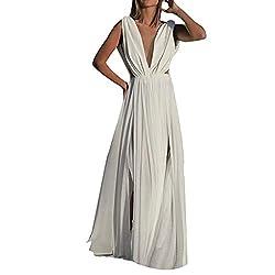 Gowom Women Sexy Chiffon White Dress Deep V Neck Boho Long Party Elegant Gown Dress White X Large
