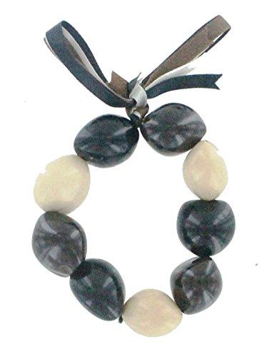 - Hawaiian Lei Bracelet of Tri-Color Kukui Nuts