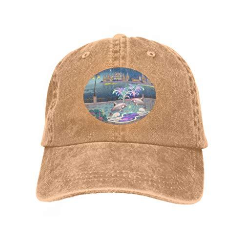 - Unisex Baseball Caps Adjustable Plain Dad Hat Sun Cap Beautiful Landscape Lighted Fountain Dolphins Evening lumino Sand Color