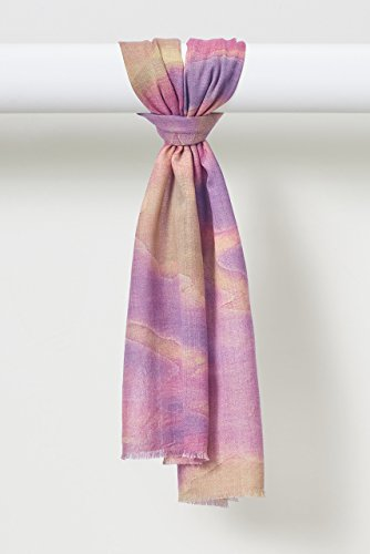 NEW! Watercolors Organic Fine Weave Wool Scarf in Fuschia and Corngold Yellow by Louis Jane  (''Where Nature Meets Art''TM)