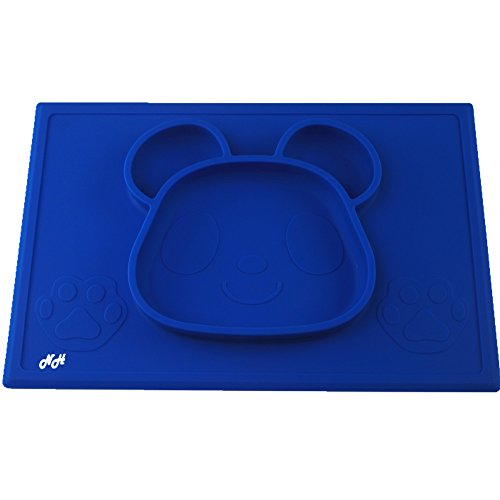 Under Construction Placemat (Silicone Placemat for Babies, Toddlers, Kids – Adorable Panda Bear Design, One Piece Placemats for Kids, Three Colors Available (Dark Blue))