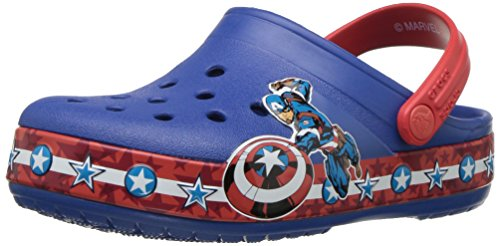 Image of Crocs Boys' CB FL Captain America CLG K Clog, Blue Jean, 9 M US Toddler