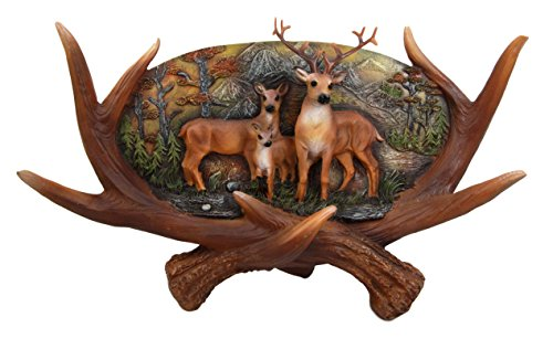 (Ebros Large Rustic Woodlands Antlers Scene Deer Buck Doe and Fawn Family Wall Plaque)