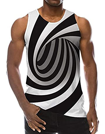 49b1903ab30a Goodstoworld Mens 3D Printed Cool Breathable Tank Top Funny All-Over  Graphics Soft Lightweight Tees
