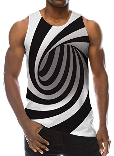 3D Print Men Muscle Swirl Psychedelic Ugly Tank Tops Funny Pattern Realistic Underwaist Gym Sports Workout Undershirt S
