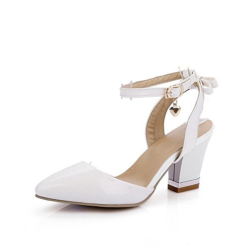 VogueZone009 Women's Closed Toe High Heels Buckle Solid Sandals White Kn8ZKWuIn7
