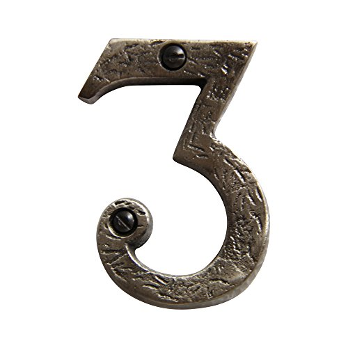 RCH Hardware 8323AN75 Decorative 3 inch (75mm) Aged Antique Nickel Finish Iron House Number Numeral (3)