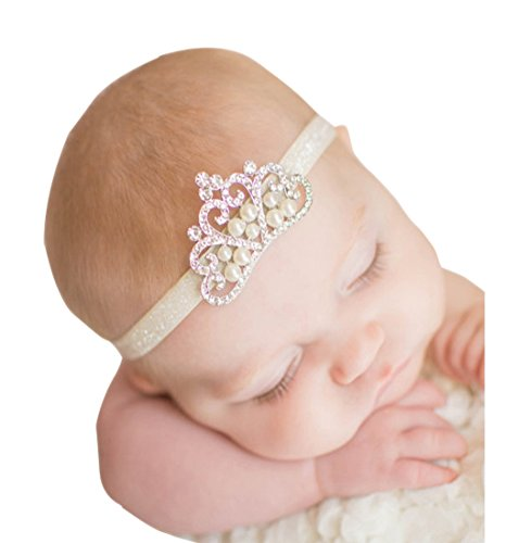 Voberry Baby's hair band Baby Girl Crystal Pearl Crystal Crown Princess Headband