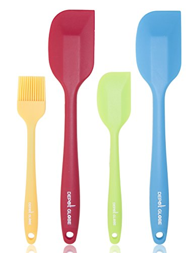 Kitchen Spatula Silicone 4 Set, Heat Resistant For Baking Or Cooking