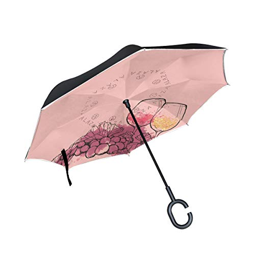 MALPLENA Red Wine Cups and Grapes Auto Open Inverted Umbrellas with C-Shaped Handle Waterproof Double Layer Folding