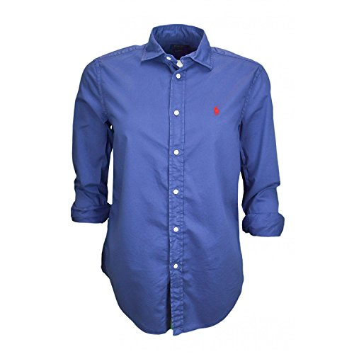 Sleeve Lauren Twill St Est Ralph Shirt Bleu Dye RX Chemisier Long Garment Femme LS Polo 5nR0PqI