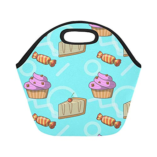 Insulated Neoprene Lunch Bag Cheesecake Dessert Afternoon Tea Large Size Reusable Thermal Thick Lunch Tote Bags For Lunch Boxes For Outdoors,work, Office, School