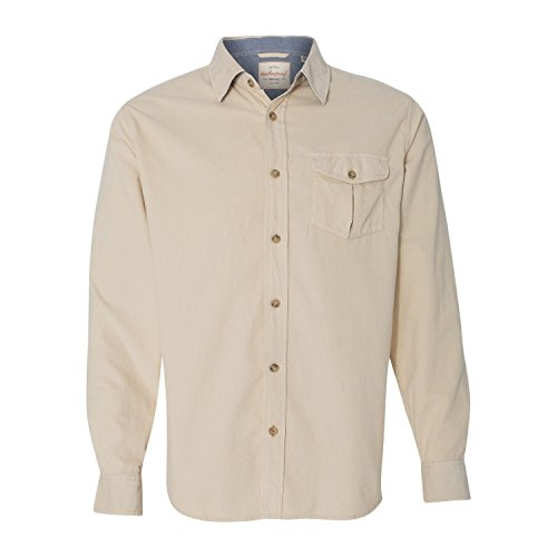 Weatherproof Mens Vintage Mini Cord Long Sleeve Shirt 154867 -Stone XL (Corduroy Button)